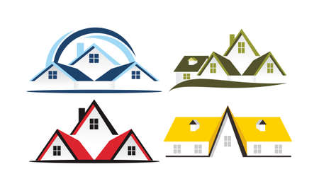 Real Estate icons logo Template Set Vector illustration.