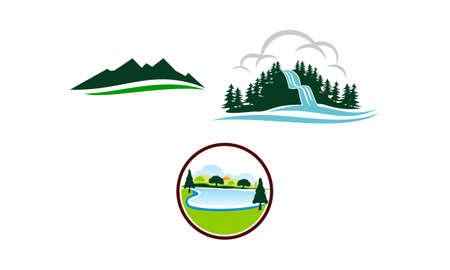 Mountain Lake Template Set   イラスト・ベクター素材