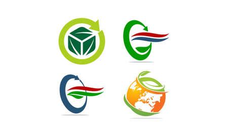 Leaf logo icons Template  Set Vector illustration.
