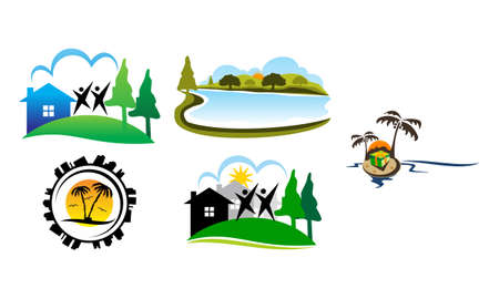 Landscape Neighborhood Association Set Ilustração