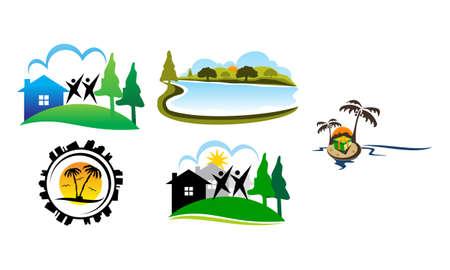 Landscape Neighborhood Association Set Stock Illustratie