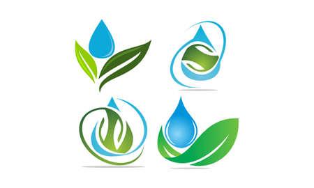 Leaf Water Template Set Illustration