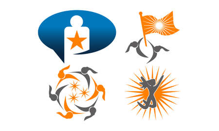 Success, life, coaching icon set.