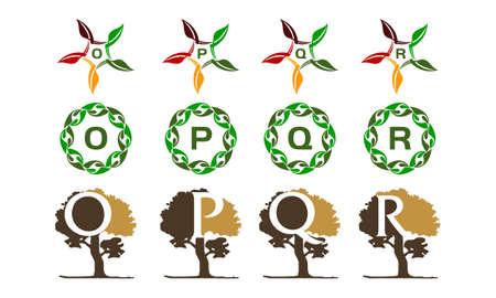 Leaf and tree template set. Illustration