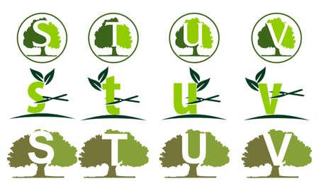 Leaf Tree Template Set Illusztráció