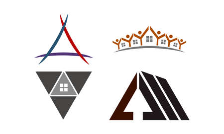 Real Estate Template theme logo Set Illustration