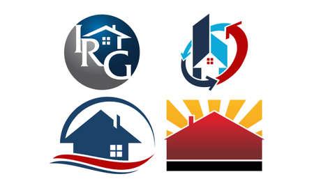 Real Estate Template theme logo Set Stock Illustratie