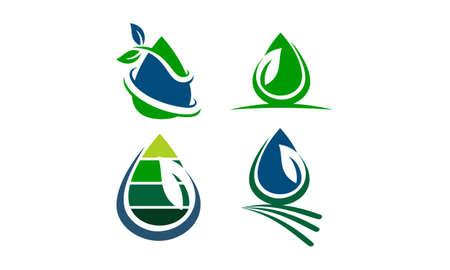 Leaf Water Template theme logo Set Illustration