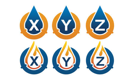 Oil Water Pipe Solutions Initial theme logo Set