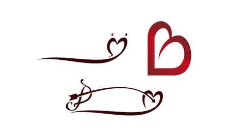 Bow Love Template design Set illustration. Illustration