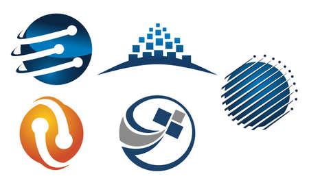 Technology Connection Logo Set Illustration