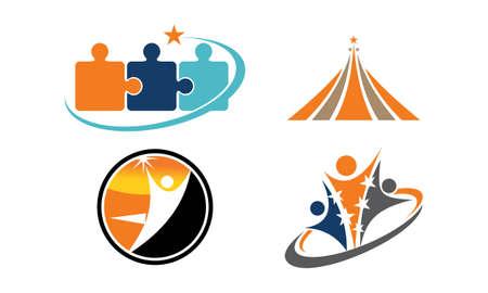 Set of success life coaching logo concept icons.