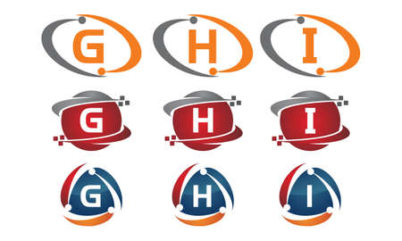 Letters g, h and i technology template design initial set.
