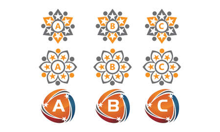 Letters a, b and c icons initial set.