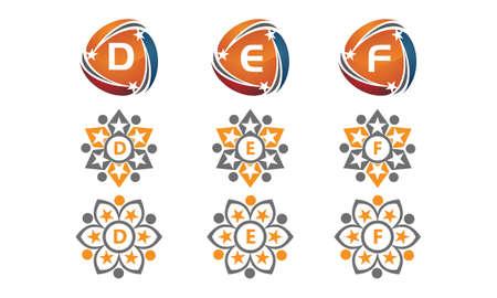 Letters d, e and f icons initial set. Ilustração