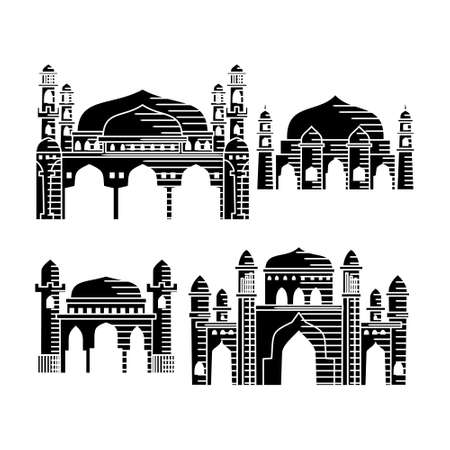 Mosque icon vector Illustration design template Set