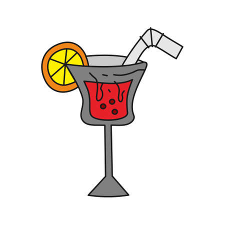 Glass Drinking Cocktail Template Vector Illustration