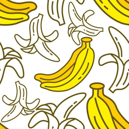 Banana Fruit Pattern Seamless Vector Template Vettoriali