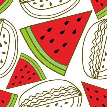 Watermelon Fruit Pattern Seamless Vector Template Vettoriali