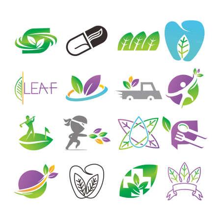 Conjunto de plantillas vectoriales de diseño de logotipo de hoja