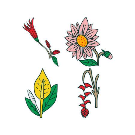 Flower Leaf Illustration Design Template Vector Imagens - 124372691