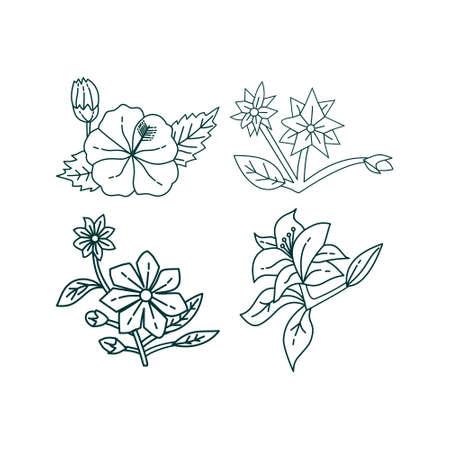 Kwiat Liść Ilustracja Szablon Projektu Wektor