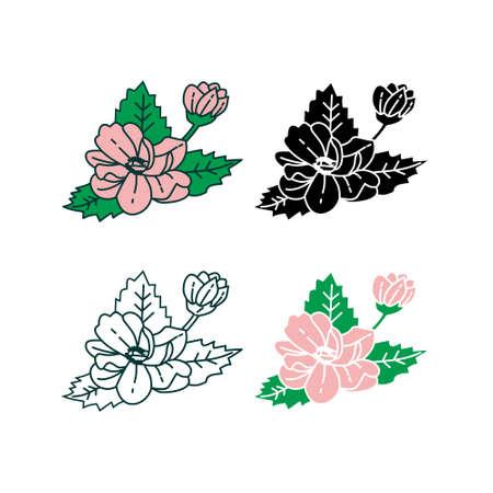 Flower Leaf Illustration Design Template Vector Imagens - 124372704