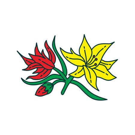 Flower Leaf Illustration Design Template Vector Imagens - 124372708