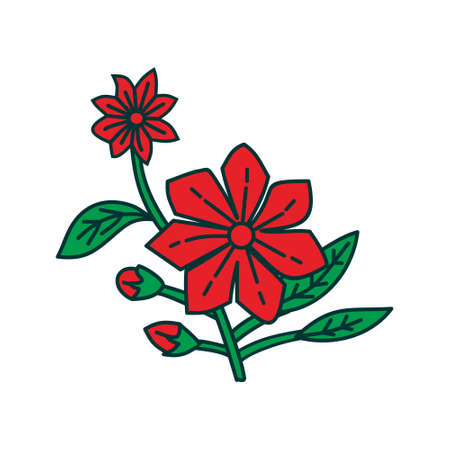 Flower Leaf Illustration Design Template Vector Imagens - 124372832