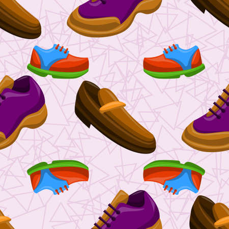 Shoes Flat Color Background Seamless Pattern Иллюстрация