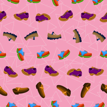 Shoes Flat Color Background Seamless Pattern Illustration