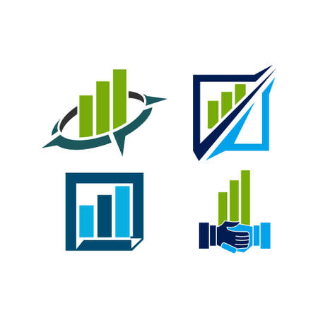 Accounting Tax Financial Business Logo Design Set Template Vector
