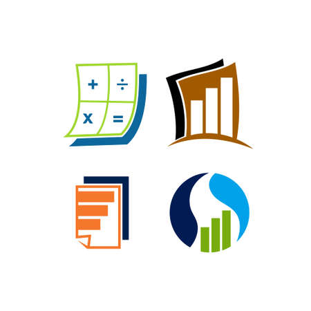 Rechnungswesen Steuer Finanzgeschäft Logo Design Set Vorlage Vektor