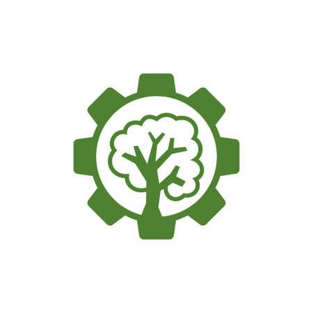 Gear Tree Business logo design template vector Icon