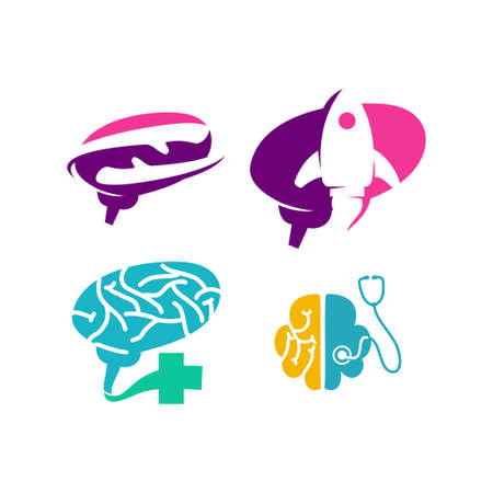 Brain Logo template Think idea concept Brainstorm power thinking icon Ilustração
