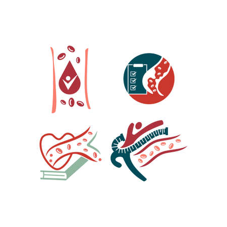 Cholesterol in artery health risk vector design Illustration