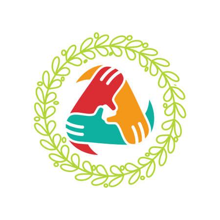 Commitment Teamwork Together Business Logo Illustration Vector Ilustração
