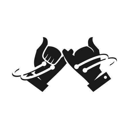 Commitment Teamwork Together Business Black Logo Illustration Vector Vectores