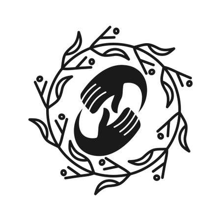 Commitment Teamwork Together Business Black Logo Illustration Vector Ilustração