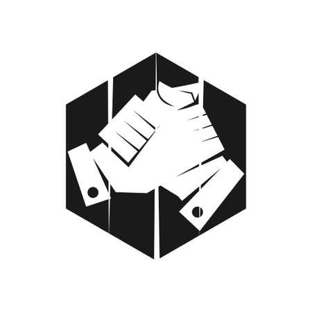 hexagonal Commitment Teamwork Together Black Logo