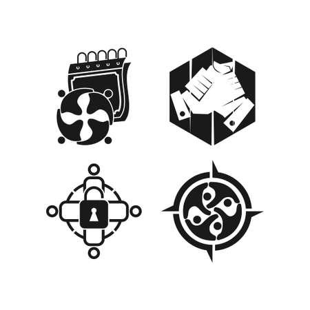 calendar adventure lock  Commitment Teamwork Together Black Logo  イラスト・ベクター素材