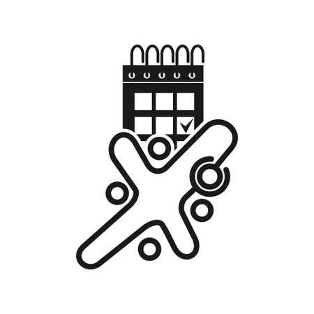 Calendar Time Commitment Teamwork Together Black Logo