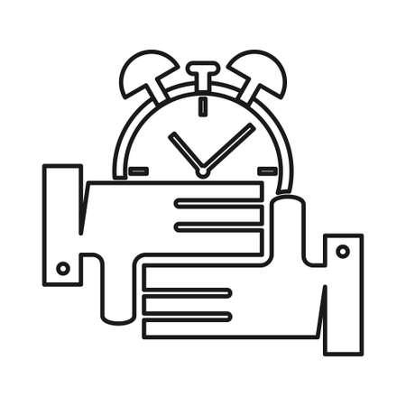 alarm time Commitment Teamwork Together Outline Logo Ilustrace