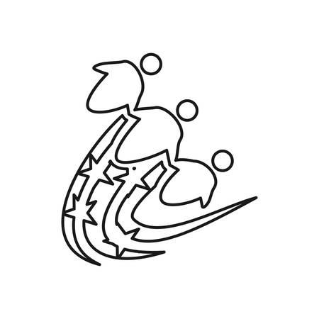 swash star Commitment Teamwork Together Outline Logo Ilustrace
