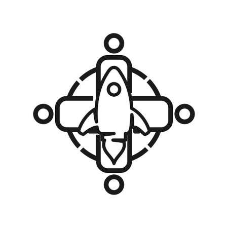 Rocket speed Commitment Teamwork Together Outline Logo