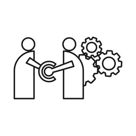 gears machine Commitment Teamwork Together Outline Logo