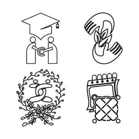 education leaf calendar Commitment Teamwork Together Outline Logo  イラスト・ベクター素材
