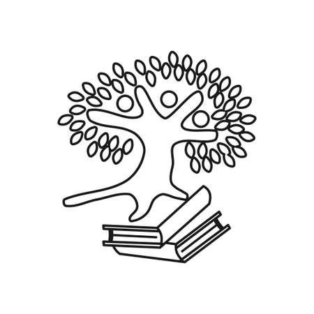 Book tree Commitment Teamwork Together Outline Logo