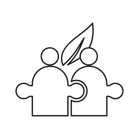 Puzzle Leaf Commitment Teamwork Together Outline Logo