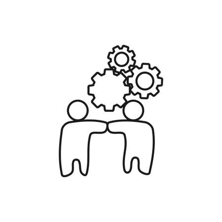 Gears Friend Commitment Teamwork Together Outline Logo 일러스트